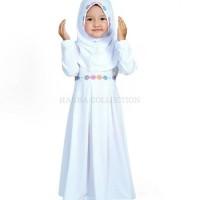 Baju muslim gamis anak perempuan untuk manasik warna putih .promo
