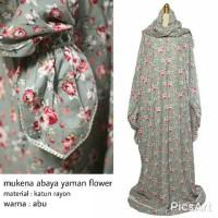 Mukena Abaya Yaman Flowery Katun Rayon