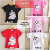 BAJUKIDDIE KAOS LAMPU UNICORN SEQUIN . couple anak dewasa manik led
