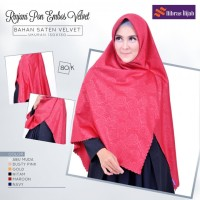 Hijab Segiempat Embos Motif Original Nibras Rinjani Pon bos Velvet