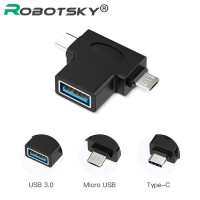 Robotsky USB Female to Type-C and Micro USB Male Adapter USB 3.0 (OTG)