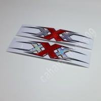 Sticker Motor Timbul Triple X Kombinasi Merah Silver Stiker Tebal 2pcs