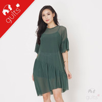 W58 Ruffle Sheer Dress Baju Transparan Pantai Outer terusan Hijau Army