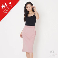Midi Pencil Skirt Rok Span Kaos Slit Interlock Double Knit Pink