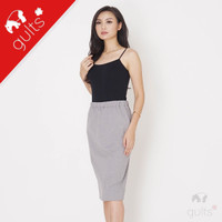 Midi Pencil Skirt Rok Span Kaos Slit Interlock Double Knit Abu Muda