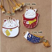 Cute Japanese Charm Kucing Koinobori Liontin Kalung Bandul Keychain