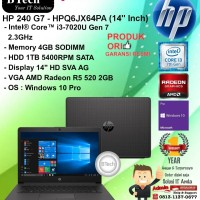"HP 240 G7 - HPQ6JX64PA (14"" Inch) Core i3-7020U/4GB/1TB/WIN10PRO/1YEAR"
