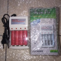 Charger Baterai Batre AA A2 AAA A3 Rechargeable Ran Da + 4 baterai AA - CargerBtreBuble