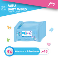 Mitu Baby Tisu Basah Mini Travel Pack Blue [48 x 4's]