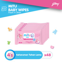 Mitu Baby Tisu Basah Mini Travel Pack Pink [48 x 4's]