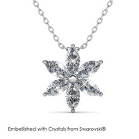 Petal Flower Pendant - Kalung Crystal Swarovski by Her Jewellery