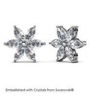Petal Flower Earrings - Anting Crystal Swarovski by Her Jewellery