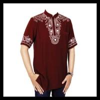 Baju Muslim Koko Pria Terbaru, Motif Bordir, Warna Merah Marun Big