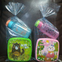 paket hemat souvenir ulangtahun kotak makan dan botol fliptop