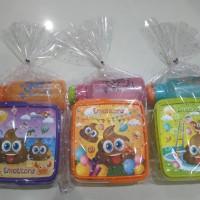 paket hemat souvenir ulangtahun kotak makan emoticon dan botol minum