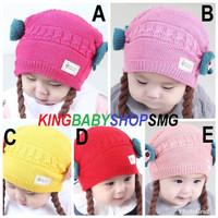 JTY11 Topi Kepang Rambut Palsu Import Kupluk Rajut Anak Bayi Perempuan