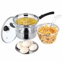 Panci Serbaguna/ Deep Fryer Stainless/ Deepfryer 3in1 Multifungsi