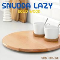 PAPAN SAJI KAYU SOLID SNUDDA TURNING SERVING WOOD PLATE HHL-148
