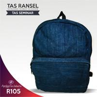 Grosir Tas Seminar Ransel R105 Bahan Jeans Denim