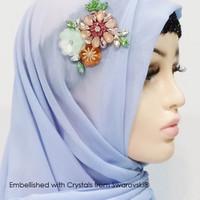 Flowery HIjab Scarf -Hijab Crystal Swarovski by Her Jewellery