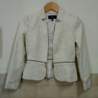 Jas blazer Mango balero jacket cream tweed blazer