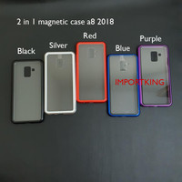 Samsung a8 2018 Premium 2 in 1 magnetic phone case -Transparant