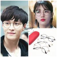 Frame + lensa minus - kacamata Korea model bulat vintage klasik