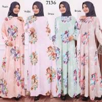 Baju Gamis Wanita Terbaru Gamis Jumbo Jersey Korea 6L 7136