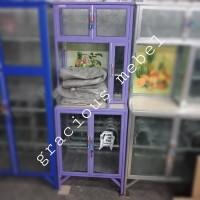 Rak/lemari Piring Aluminium Keramik Kaca Es Kecil Warna