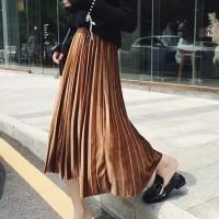 VAO6086 Pleated Velvet Skirt 2 Rok Bludru Import Rok Prisket Rok Midi