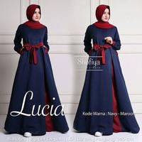 Baju Pakaian Wanita Gamis Maxi Lucia Dress Navy