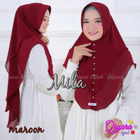 Jilbab Khimar Syari Mila Mutiara Ceruti Sifon 2 Layer