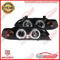 HEADLAMP - BMW E39 1995-2003 - SONAR - ANGEL EYES - PROJECTOR - BLACK