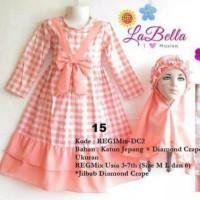 labella dress gamis 6-7th peach