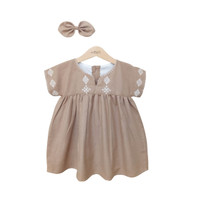 Mosfit Zahra Brown Baju Dress Anak Perempuan