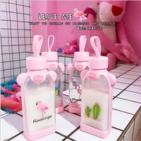 Botol minum kotak Datar Flamingo Kaca Cangkir Kartun Silikon -TBR027