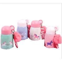 Gelas Mug Tutup Bulat Bakso Botol minum Unicorn Cantik 330ml - TBR036