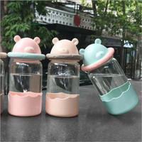 Botol air minum tahan panas Buddy bear glass bentuk lucu - TBR038
