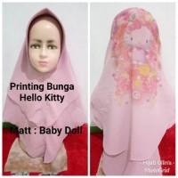 Jilbab Anak Cerruty Khimar 2 Layer Printing Bunga Hello Kitty