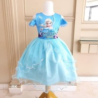 BAJUKIDDIE FROZEN PARTY SABRINA BLUE . dress anak princess elsa anna