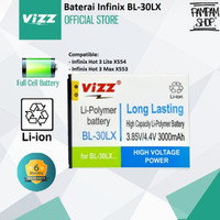Baterai Vizz Double Power Infinix Hot 3 Max X553 BL-30LX BL30LX Ori