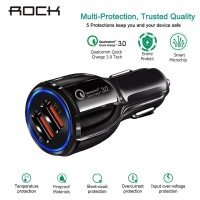 Rock Quick Charge 3.0 18W 2-Port Car Charger (Qualcomm Certified)