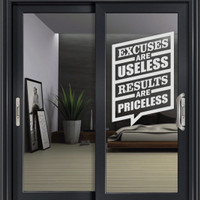 Stiker Excuses Motivasi Dinding Kaca Pintu Kamar Kantor Resto Sticker