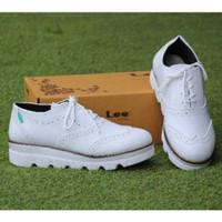 Sepatu sneaker boots casual wanita - putih variasi tali