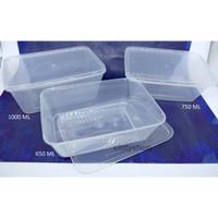 Thin Wall Kotak / Wadah Plastik dengan tutup 1000ml Isi 10pcs
