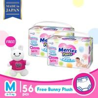 Merries Baby Diapers Pants M 28S Twinpack FREE Merries Bunny Plush
