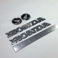 Stiker Emblem Motor Timbul Honda Silver 20cm Logo HONDA Bulat 4,7cm