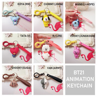 Gantungan Accessories pada Tas karakter KPOP BT21 Animasi / Keychain