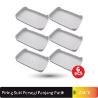 Piring Saji Suki Persegi Panjang (Nampan) 23cm 6 Pcs (G446) - Putih