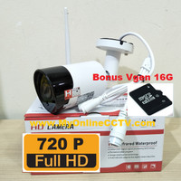 IP Cam CCTV Outdoor Wireless Paket Camera Praktis Wifi Tahan Air + MMC